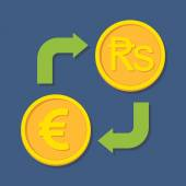 Currency exchange. Euro and Rupee. — Stock Vector
