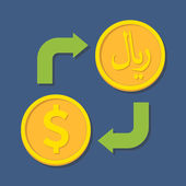 Currency exchange. Dollar and Rial. — Stok Vektör