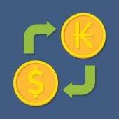 Currency exchange. Dollar and Kip. — Stok Vektör