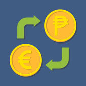 Currency exchange. Euro and Peso. — Stok Vektör
