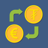 Currency exchange. Euro and Tugrik. — Stok Vektör