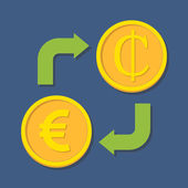 Currency exchange. Euro and Cedi. — Stok Vektör
