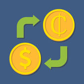 Currency exchange. Dollar and Cedi. — Stok Vektör