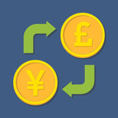 Currency exchange. Yen(Yuan) and Pound Sterling. — Stock Vector