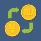 Currency exchange. Yen(Yuan) and Shekel. — Stok Vektör