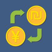 Currency exchange. Yen(Yuan) and Shekel. — Stock Vector