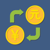 Currency exchange. Yen and Yuan. — Stock Vector