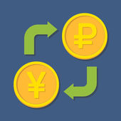 Currency exchange. Yen(Yuan) and Ruble.  — Stock Vector
