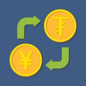 Currency exchange. Yen(Yuan) and Tugrik. — Stok Vektör