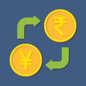 Currency exchange. Yen(Yuan) and Rupee. — Stock Vector
