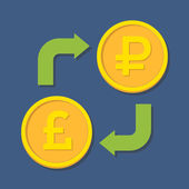 Currency exchange. Pound Sterling and Ruble.  — Stock Vector