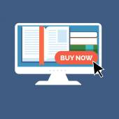 E-book buying concept. Flat design. — Vecteur