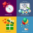 Set of flat design concept icons. Finding love, Dating service, — Stock Vector #70821505