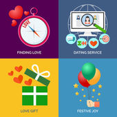 Set of flat design concept icons. Finding love, Dating service, — Stock Vector