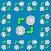 Currency exchange. Set 3. Euro, Dollar, Rupee, Dong, Tenge, Shek — Stock Vector