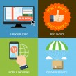 Set of flat design concept icons for business. E-book buying, Be — Stock Vector #70884659
