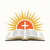 Bible, sunset and cross. Church logo concept. Isolated on white  — Stock Vector