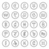 Currency Icons Set. Outlined black over white background — Stock Vector