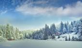 冬の朝、カルパティア山脈のパノラマ — ストック写真