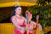 Thai Traditional Culture Festival - Fan Dance of the Southern Thailand — Stock Photo