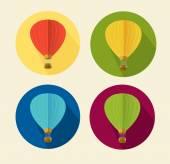 Vector air ballon icon set flat — Stock Vector