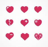 Vector set of love signs. 9 Hearts icons. — Stock Vector