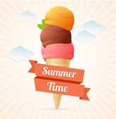 Vector summer Vintage Ice Cream Poster. — Stock Vector