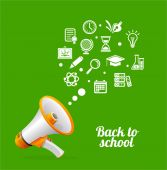 Vector Megaphone and icon. Back to school concept — Stockvector