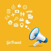Vector Megaphone and icon. Travel concept — Stock Vector