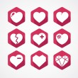 Vector set of love signs. 9 Hearts icons. — Stock Vector #61558181