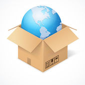Opened cardboard box and globe, isolated on white — Stock Vector