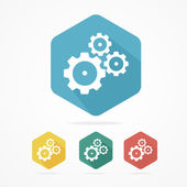 Gear icon set. Flat design style — Stock Vector