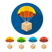 Vector flat parachutes icons set — Stock Vector