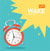 Vector red wakeup clock card. Flat Design — Stock Vector