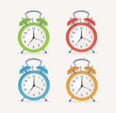 Vector wakeup clocks set. Flat Design — Stock Vector