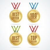 Vector. Set of medals. Sale concept — Stock Vector