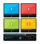 Vector kleurrijke video speler huid instellen — Stockvector