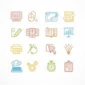Design web site development theme colorful icon set. Vector — Stock Vector