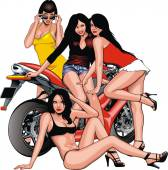 Nice girls and motorbike — ストックベクタ