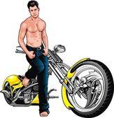 Girl and motorbike — Stock Vector