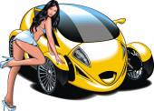 My original design car with girl from my dream — Stock Vector