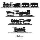 Eisenbahn, Züge-Satz — Stockvektor