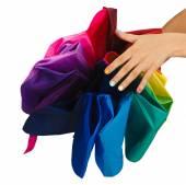 Woman opened colorful umbrella — Foto de Stock
