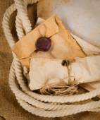 Old envelope, parchment and rope — Foto de Stock