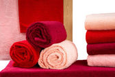 Colorful twisted terry towels — Stock Photo
