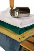 Terry towels with metal tin — Stock Photo