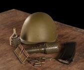 Ammunition on wooden table — Stock Photo