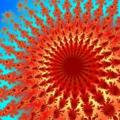 Fractal red orange flower digitally generated on the blue background  — Stock Photo