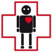 Ícone de médicos silhueta humana de insuficiência cardíaca — Vetor de Stock