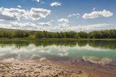 Brzegu rzeki w górach Ałtaju — Zdjęcie stockowe